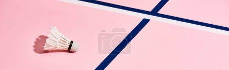 Photo pour Shuttlecock pour badminton sur surface rose avec lignes bleues, vue panoramique - image libre de droit