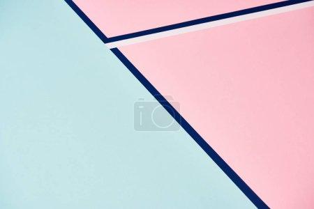 Photo pour Arrière-plan abstrait en rose pastel et bleu avec lignes - image libre de droit