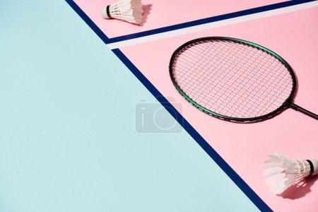 Photo pour Raquette de badminton et navettes sur une surface colorée aux lignes bleues - image libre de droit