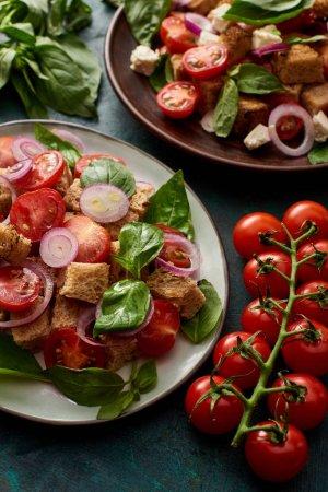 Photo pour Salade de légumes frais italien panzanella servi sur des assiettes sur la table avec des tomates - image libre de droit
