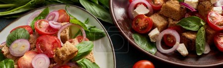 Photo for Fresh Italian vegetable salad panzanella served on plates on table, panoramic shot - Royalty Free Image