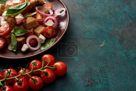 Panzanella mit frischem italienischem Gemüsesalat, serviert auf einem Teller mit Tomaten