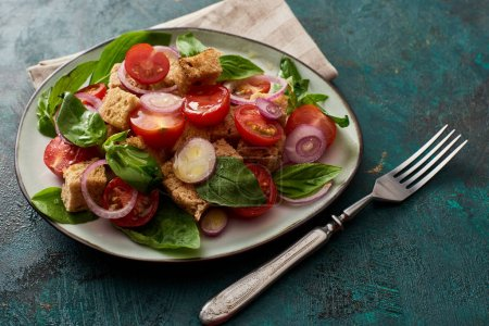 Photo for Fresh Italian vegetable salad panzanella served on plate on table with fork and napkin - Royalty Free Image