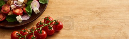 Photo for Delicious Italian vegetable salad panzanella served on plate on wooden table near fresh tomatoes, panoramic shot - Royalty Free Image