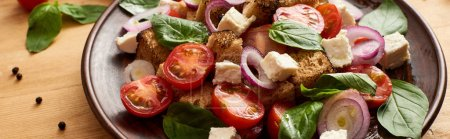 Photo for Close up view of delicious Italian vegetable salad panzanella served on plate on wooden table, panoramic shot - Royalty Free Image