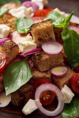 Photo pour Vue rapprochée de la délicieuse salade de légumes italienne panzanella - image libre de droit