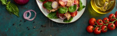 Photo for Top view of delicious Italian vegetable salad panzanella served on plate on textured green surface with ingredients, panoramic shot - Royalty Free Image