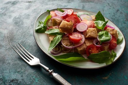 delicious Italian vegetable salad panzanella served on plate on textured green surface with fork