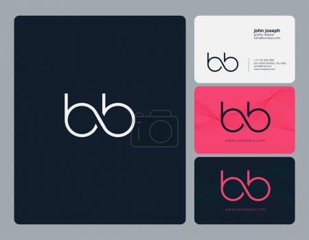 Illustration pour Icône logo joint lettres BB avec modèle vectoriel de carte de visite . - image libre de droit
