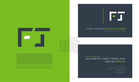 Illustration pour Logo des lettres FT, modèle de cartes de visite, vecteur - image libre de droit