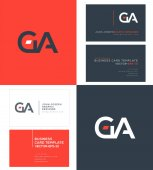 GA Letters Logo Business Cards Template Vector