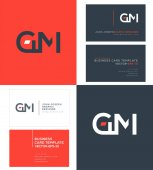 GM Letters Logo Business Cards Template Vector