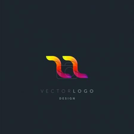 Gradient Zz Letters Logo, Business Card Template, Vector
