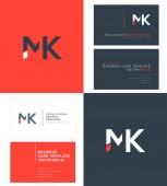 logo joint Mk for Business Card Template Vector