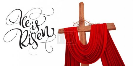 wooden christian cross with crown of thorns and text He is risen. Calligraphy lettering