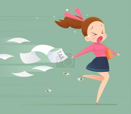 Business woman avoidance from tax, Business concept illustration