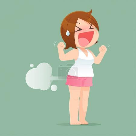 Woman Farting With Blank Balloon Out From His Bottom