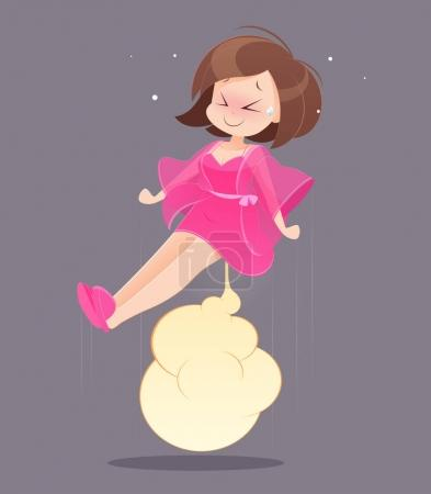 Woman in pink nightgown farting.