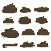 dark brown different forms of excrement painted cartoon isolated on white background