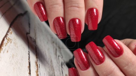 Photo for Beautiful nail design on female hands on background. 2019 - Royalty Free Image