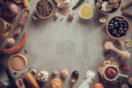 herbs and spices at table