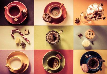 Photo pour Tasse de café, de thé et de cacao à fond coloré de papier - image libre de droit