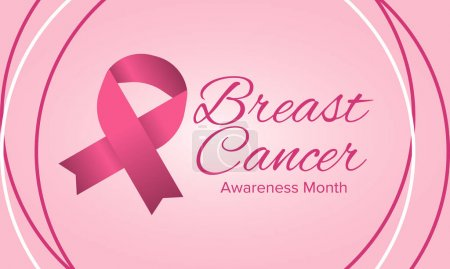 Illustration for Breast Cancer Awareness Month. Pink october. Pink ribbon. Woman healthcare. Celebrate annual. Medic concept. Girl solidarity. Cancer prevention. Female disease. Poster, banner and background. Vector - Royalty Free Image
