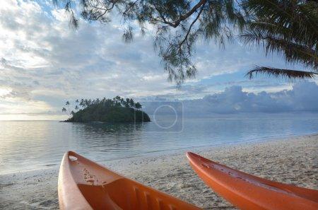 Kayaks at Muri Lagoon Rarotonga Cook Islands
