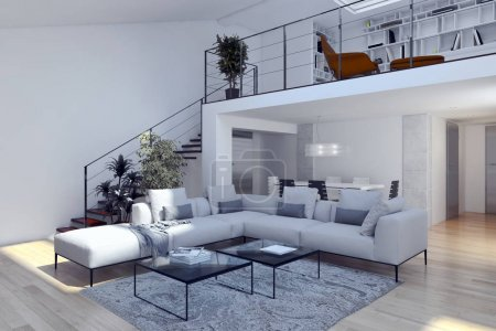 Modern bright interiors. 3D rendering illustration