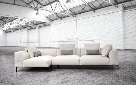 Modern interiors 3D rendering illustration