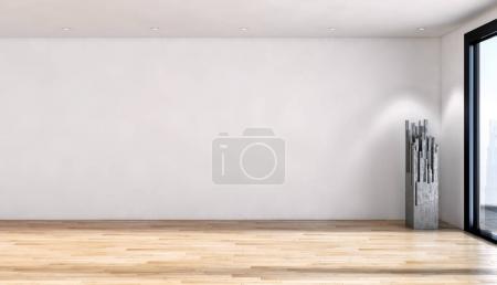 Illustration de rendu 3d des intérieurs lumineux moderne