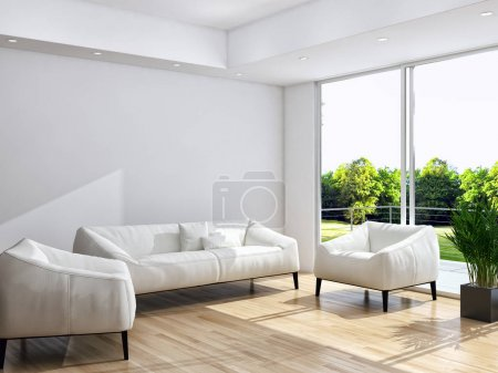 Modern bright interiors 3D rendering illustration