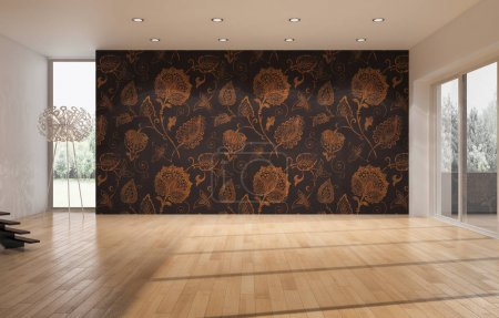 moderne helle Innenräume 3D-Darstellung