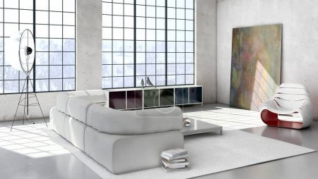 Photo for Modern bright interiors 3D rendering illustration - Royalty Free Image