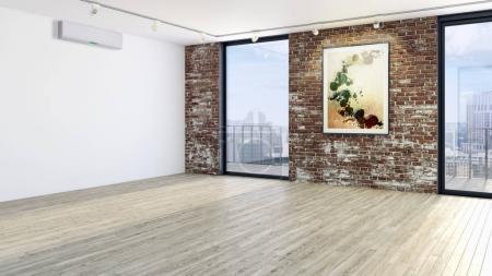 Foto de Ilustración de render 3d modernos interiores brillantes - Imagen libre de derechos