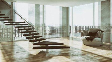 Modern bright interiors apartment 3D rendering illustration