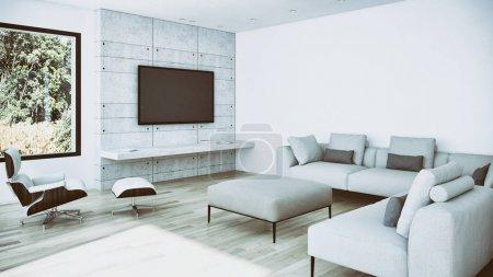 Photo pour Intérieur lumineux moderne appartement illustration rendu 3D - image libre de droit