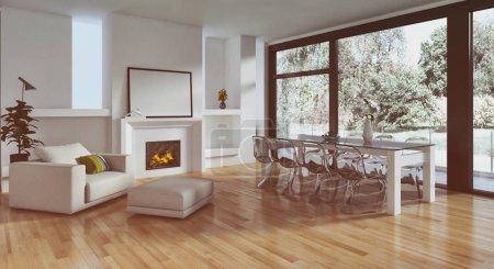 Photo pour Illustration de rendu 3d des intérieurs lumineux moderne appartement - image libre de droit