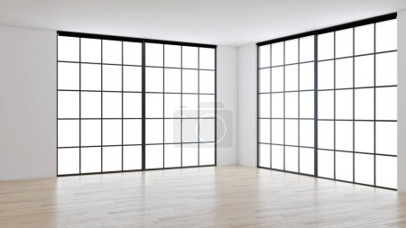 Photo for Large luxury modern bright interiors empty room illustration 3D rendering computer generated image - Royalty Free Image