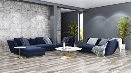 Photo for Large luxury modern bright interiors Living room illustration 3D rendering computer digitally generated image - Royalty Free Image