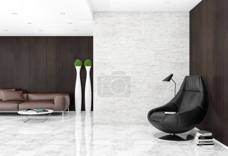 Photo for Modern bright interiors with mock up poster frame illustration 3D rendering computer generated image - Royalty Free Image