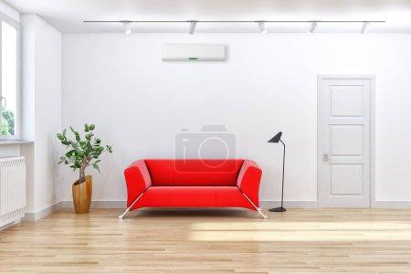 Photo pour Grand luxe moderne lumineux intérieur salon avec climatisation maquette illustration rendu 3D - image libre de droit