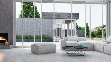 große luxuriöse moderne minimale helle Innenräume Zimmer-Attrappe illustr