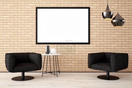 Photo pour Grand luxe moderne lumineux intérieurs Salon maquette illustration 3D rendu informatique image générée numériquement - image libre de droit