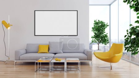 Photo pour Intérieurs lumineux modernes avec maquette affiche cadre illustration rendu 3D image générée par ordinateur - image libre de droit