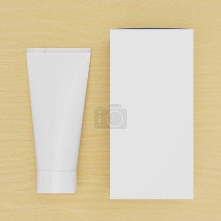 Photo pour La papeterie d'entreprise a monté une maquette. Éléments d'identification de marque vierges, tube cosmétique ou crème médicamenteuse avec une boîte en carton sur une table en bois. rendu 3D . - image libre de droit