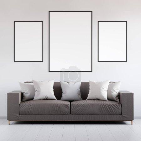 Foto de Cartel de la maqueta en el interior con cuero sofá y cojines, interiores modernos, render 3d - Imagen libre de derechos