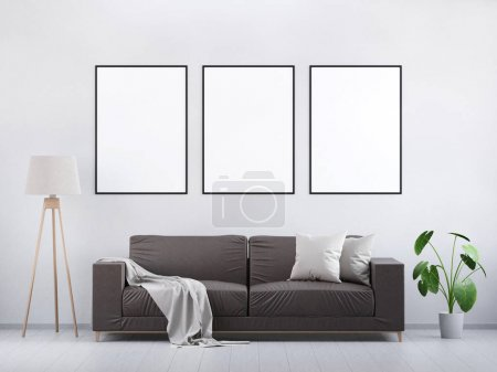 Photo for Modern vintage living room. Brown leather sofa on a grey wooden floor and light wall. Green plant and a lamp. Mockup poster in the interior. 3D render. - Royalty Free Image