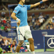 Постер, плакат: Twelve times Grand Slam champion Novak Djokovic of Serbia in action during his quarterfinal match at US Open 2016