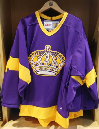 The Los Angeles Kings jersey on display at NHL store